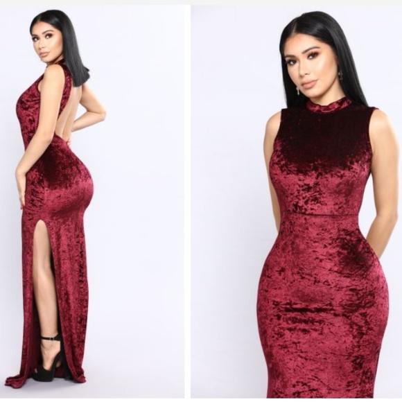 3eb0637dcd8 Burgundy Velvet Dress - Wine Red